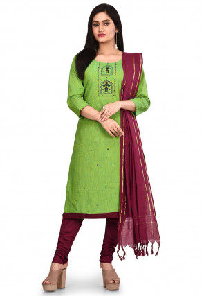 Embroidered South Cotton Straight Suit in Green