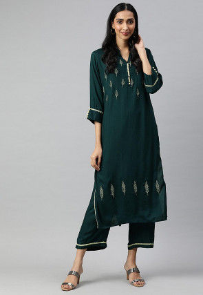 Embroidered Straight Kurta Set in Teal Green