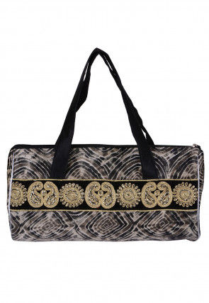 Embroidered Suede Hand Bag in Black and White