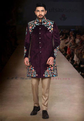 Embroidered Suede Jodhpuri Suit in Wine