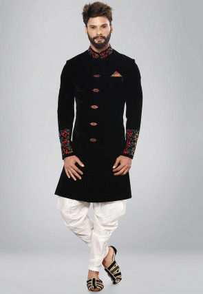 Embroidered Suede Sherwani in Black