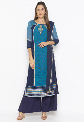 Embroidered Super Net Pakistani Suit in in Teal Blue