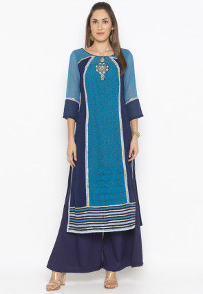 Embroidered Super Net Straight Kurta in Teal Blue