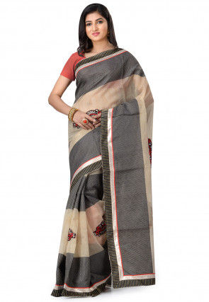 Embroidered Supernet Saree in Beige and Black