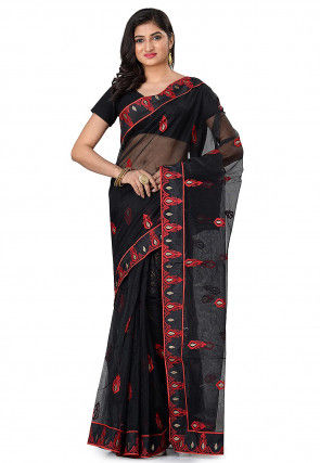 Embroidered Supernet Saree in Black