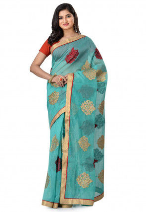 Embroidered Supernet Saree in Light Blue