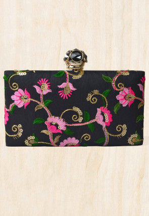 Embroidered Synthetic Box Clutch Bag in Black