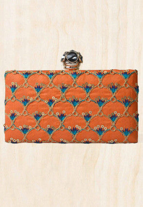 Embroidered Synthetic Box Clutch Bag in Orange