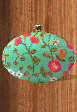 Embroidered Synthetic Oval Box Clutch Bag in Light Teal Green