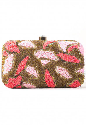 Embroidered Synthetic Rectangular Box Clutch Bag in Brown and Pink