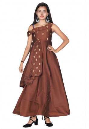 Embroidered Tafetta Silk Gown in Brown