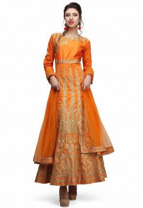 Embroidered Taffeta Silk Abaya Style Suit in Orange