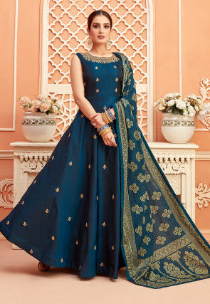 Embroidered Taffeta Silk Abaya Style Suit in Teal Blue