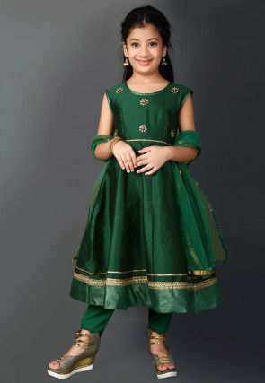 Embroidered Taffeta Silk Anarkali Suit in Dark Green