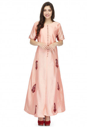 Embroidered Taffeta Silk Front Slitted Long Kurta in Peach