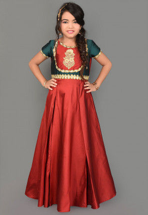 Embroidered Taffeta Silk Gown in Maroon and Teal Green