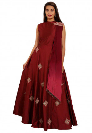 Embroidered Taffeta Silk Gown in Maroon