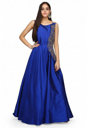 Embroidered Taffeta Silk Gown in Royal Blue