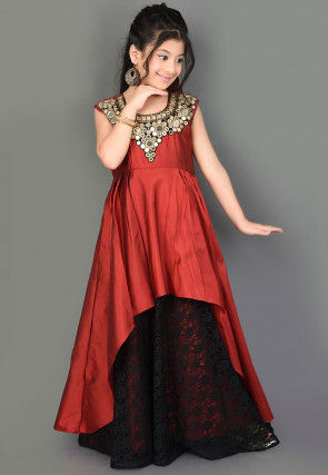 Embroidered Taffeta Silk Layered Gown in Maroon and Black