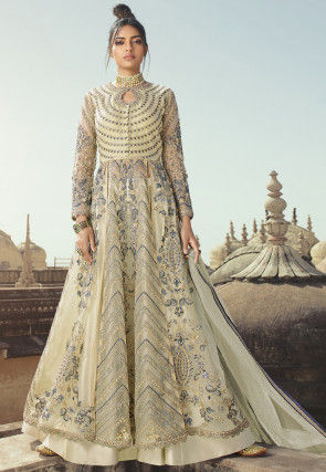 Embroidered Taffeta Silk Lehenga in Cream