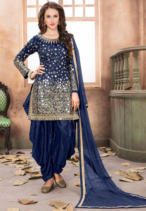 Embroidered Taffeta Silk Punjabi Suit in Navy Blue