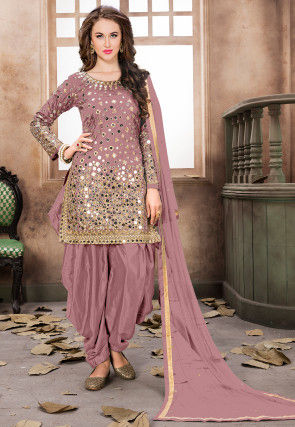 Embroidered Taffeta Silk Punjabi Suit in Old Rose