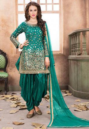 Embroidered Taffeta Silk Punjabi Suit in Teal Green