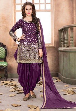 Embroidered Taffeta Silk Punjabi Suit in Violet