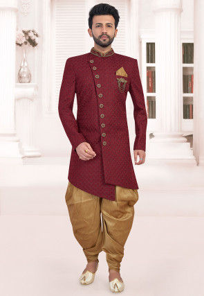 Embroidered Terry Rayon Asymmetric Dhoti Sherwani in Maroon