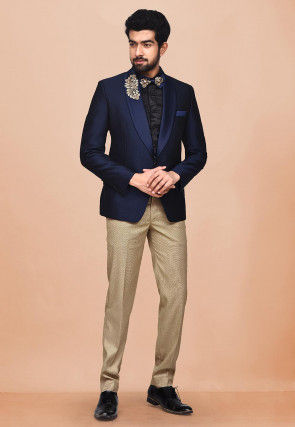 Embroidered Terry Rayon Tuxedo in Dark Blue