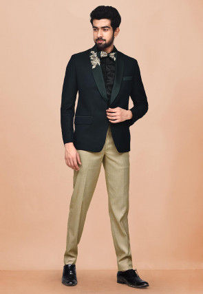 Embroidered Terry Rayon Tuxedo in Dark Green