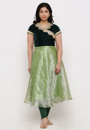 Embroidered Tissue A Line Kurta Set in Green