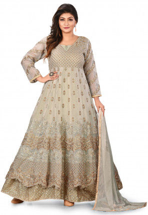 Embroidered Tissue Abaya Style Suit in Light Beige