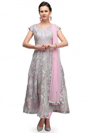 Embroidered Tissue Anarkali Suit in Baby Pink