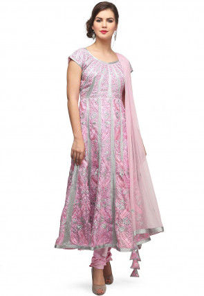 Embroidered Tissue Anarkali Suit in Pink