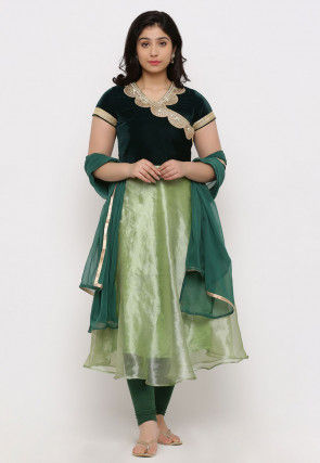 Embroidered Tissue Angrakha A Line Suit in Green