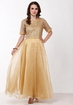 Embroidered Tissue Gown in Golden