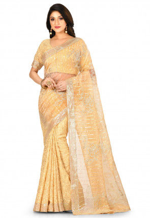 Embroidered Tissue Half N Half Saree in Beige