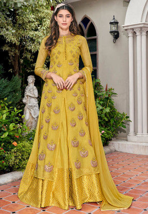 Embroidered Tissue Jacket Style Abaya Suit in Mustard