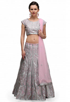 Embroidered Tissue Lehenga in Baby Pink and Silver
