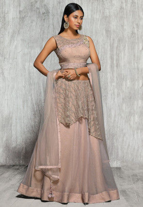 Embroidered Tissue Lehenga in Dusty Peach