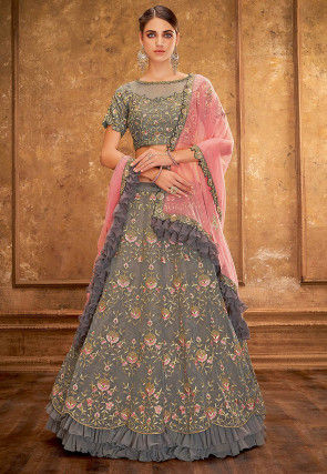 Embroidered Tissue Lehenga in Grey