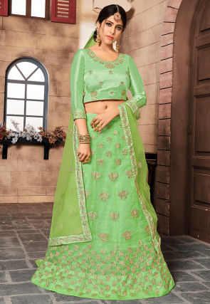Embroidered Tissue Lehenga in Light Green