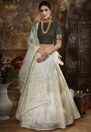 Embroidered Tissue Lehenga in Off White