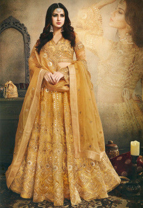 Embroidered Tissue Lehenga in Old Gold
