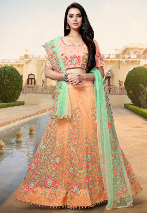 Embroidered Tissue Lehenga in Peach