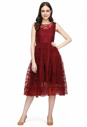 Embroidered Tissue Midi Dress in Maroon