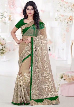 Embroidered Tissue Saree in Beige