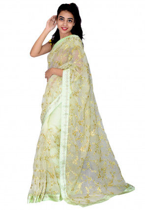 Embroidered Tissue Saree in Pastel Green