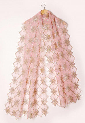 Embroidered Tissue Scalloped Dupatta in Baby Pink